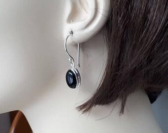 Black onyx earrings set in 92.5 sterling silver