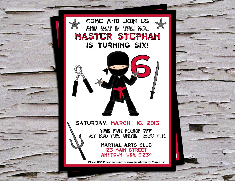 Ninja Birthday Party Invitation Red-Black-White Boys Ninja
