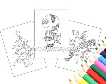 Christmas Coloring Pages, Bundle of 3 Printable Pages, Zentangle Inspired (Christmas Coloring Pages 1-3)