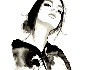 Transfusion, print from original watercolor and mixed media fashion illustration by Jessica Durrant