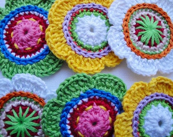 Set of  6 Colorful Crochet Flowers
