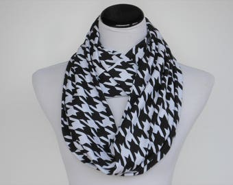 Black white Houndstooth scarf, Infinity scarf black houndstooth soft jersey knit scarf loop scarf circle scarf, birthday Mother's day gift