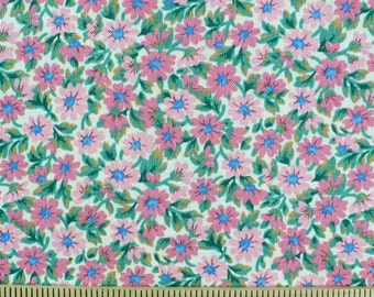 Small print, floral fabric, pink, green, 1/2 YARD, quilt fabric, cotton, vintage