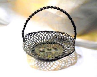 Metal Woven Oval Basket with Handle Hand Made