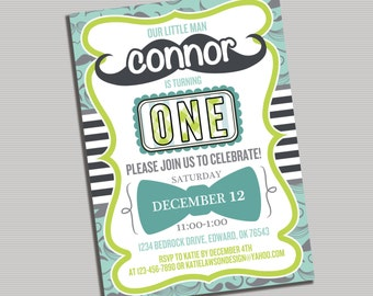 Our Little Man First Birthday Invitation- PRINTABLE Digital File