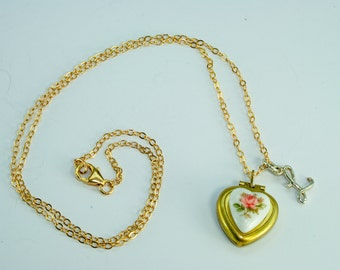 LOCKET Blue Yellow or Pink Rose Personalized Sterling Silver Initial. Gold chain. flower Heart Locket Necklace Mothers Day Wedding gifts