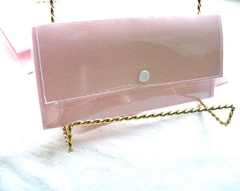 Travel Wallet, Womens Wallet, Pink Pastel Snap Wallet, Plastic Water Resistant, Cash Envelope Wallet, 7 Inch, Hand Stitched, Made In USA