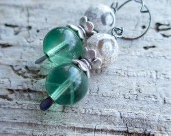 dZi Agate Green Fluorite Drop Earrings    Drop and Dangle   Earthy   Organic   Boho   Hippie   Wedding   Green and White Earrings Under 25