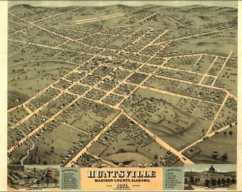 Poster, Many Sizes Available; Birdseye View Map Of Huntsville Alabama 1871