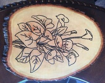 Wood-Burned Lily decorative plaque