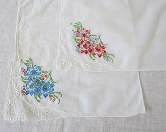 Vintage Hanky Lot - 2 Floral Handkerchiefs with Lace Corner