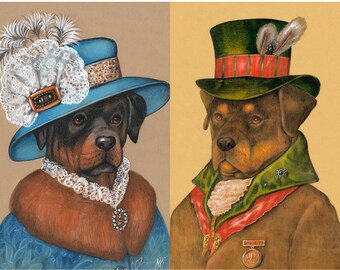 Rottie Couple - 2 Art Prints - Madame and the Politician - Rottweiler Prints - Dog Wall Art - Funny Pet Portraits by Maria Pishvanova