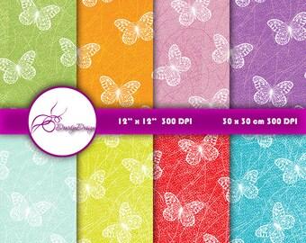 Butterfly Digital Paper Download, Digital Background Paper Pack, Butterflies Digital Pattern, Digital Scrapbook Paper 360