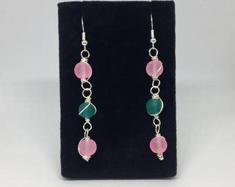 Pink and Sea Green Earrings with Wire Detailing