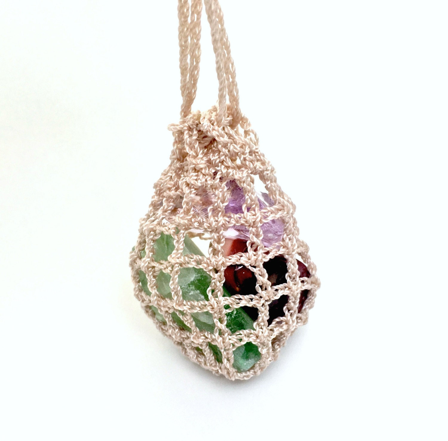 Crochet pouch necklace crystals pouch necklace adjustable zoom aloadofball Images