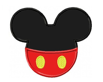 Mickey Ears and Pants Applique Machine Embroidery Digital Download