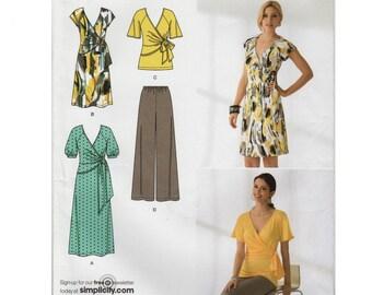 "Faux Wrap Dress Faux Wrap Top & Pants Pattern SIMPLICITY 2369 UNCUT FF bust 31.5-38"" Raglan Sleeves V-neck Dress Surplice Dress Surplice Top"
