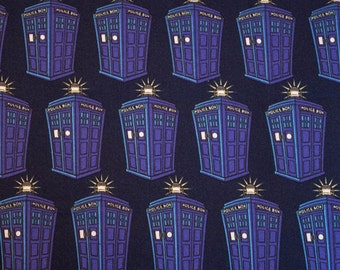 Doctor Who Fabric, END of BOLT precut, Dr Who Fabric, Tardis Fabric, BBC, Police Public Call Box, Dr Who Tardis, Hard to Find