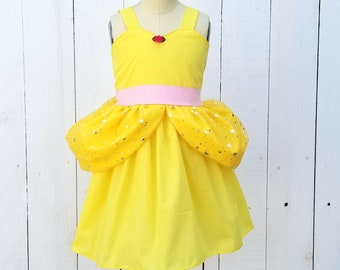 BELLE dress, Princess BELLE dress, sparkle Princess dress, toddler girls costume, comfortable Belle dress, Beauty and the Beast costume