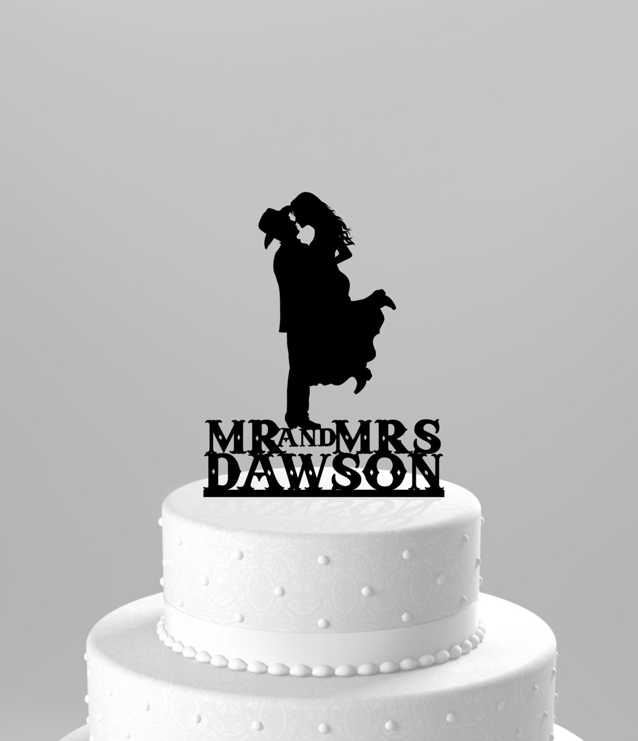 Country Western Wedding Cake Topper Silhouette Cowboy with Hat