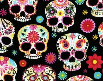 Black Day of the Dead Skulls Cotton from Timeless Treasures C4139-BLK black sugar skulls fabric by the yard or metre