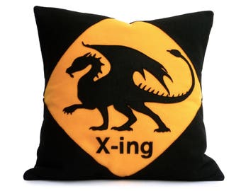 Dragon Crossing- Appliquéd Eco Felt Pillow Cover in Black and Road Sign Yellow - 18 inches