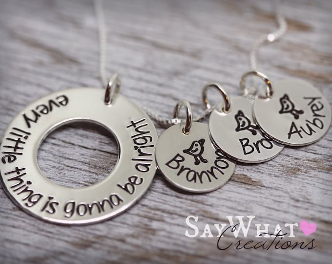"Custom Hand Stamped Sterling Silver Three Little Birds Necklace ""Every Little Thing Is Gonna Be Alright"""