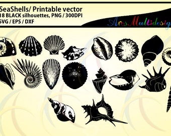 SeaShells silhouette / Sea shell /SVG / EPS / DXf vector sea shell / PNG / snails silhouette / Personal use, commercial use / High quality