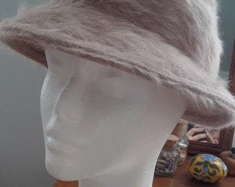 1950s Marida Hat, Fedora, Fluffy, Cappuccino, Made in England