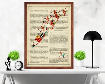 Abstract Pencil with Butterflies and Hummingbirds  Dictionary Artwork Home Decor Print Poster , Book Page
