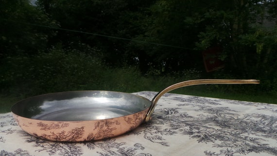 Frying Pan Skillet Copper Pan French Flipping Pan 1mm Copper Fry Saute Cast Bronze Handle Copper Rivets Tin Lined Tossing Pan