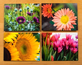 Floral Photo Note Cards, Set of 8 Blank A2 Cards Featuring Garden Flowers