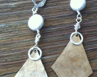 Eclectic Brass Coin Pearl Earrings