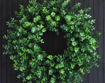 Artificial Eucalyptus Greenery Wreath - Dark Green