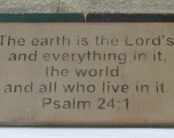 Psalm 24:1 Wooden Sign
