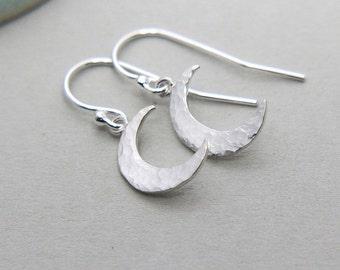Moon Earrings, Crescent Moon Earrings, Tiny Moon Earrings, Sterling Silver Crescent Moon Earrings, Hammered Moon Earrings, Moon Jewelry