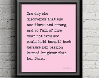 Motivational wall art, inspirational quote, feminist wall art, motivational quote, uplifting quote, she was fierce and strong...