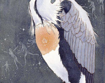 Giclee Limited Edition print Grandmother Heron by Danielle Barlow