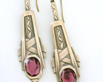 Vintage Earrings - Art Deco Earrings - Vintage Brass jewelry - Amethyst Earrings - Purple Earrings - handmade jewelry