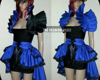 Ringmaster Bustle corset Burlesque skirt and dramatic collar bolero Steampunk  Cosplay Goth Fashion vault Dance costume