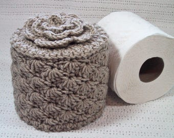 Toilet Paper Cozy w- Flower on Top - TP Cover - Tan Color - Cover Your Spare - Hand Crocheted - Acrylic Yarn - Bed & Breakfast Decor