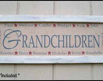 Personalized Grandmother Gift, Personalized Grandchildren Sign, Personalized Name Sign, Grandma Sign, Grandma Gift, name sign, burlap print
