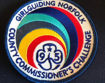 95th  Guiding anniversary - badge - Norfolk - county commissioner challenge - Guiding - RARE - vintage -