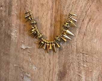 "Gold Spike Dainty Pendant Necklace, 18"" Chain"