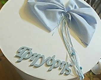 Personalised Baptism-Name Theme On Boxes & Candles- Big Baptismal Keepsake-Oil/Spa Box- Baptismal Candle With Capital Letter-3 Small Candles