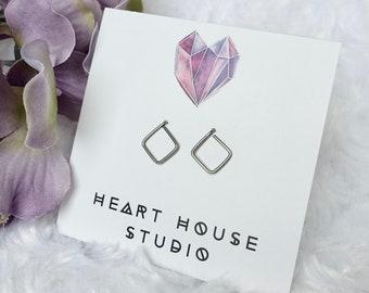 Geometric earrings, dainty square earrings, open square stud earrings, rose gold stud earrings, gold stud earrings, rose gold earrings, stud