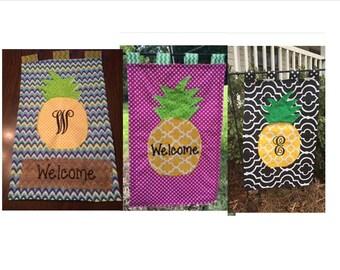 Pineapple Personalized Monogram Appliqued Embroidered Burlap Garden Flag Door Hanger