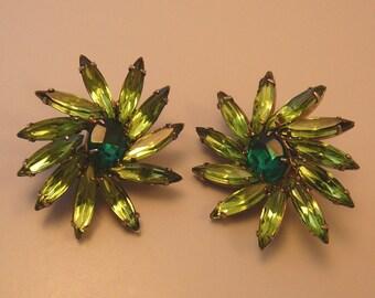 Green Rhinestone Pinwheel Flower Earrings Vintage