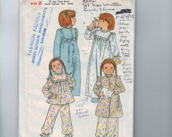 1970s Vintage Sewing Pattern Butterick 5707 Girls Robe Pajamas Nightgown Size 2 Breast 21 70s UNCUT  99