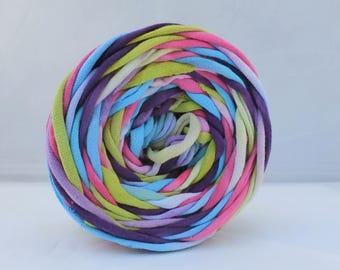 Hand Dyed T Shirt Yarn 60 Yards Aqua/Fuschia/Purple/Chartreuse, Cotton Jersey Yarn, T-shirt Yarn,